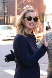Emily VanCamp Outside AOL Build in NYC