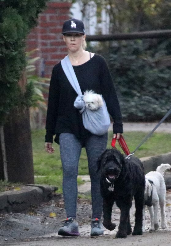 Jennie Garth Out for a walk with her dogs in Los Angeles