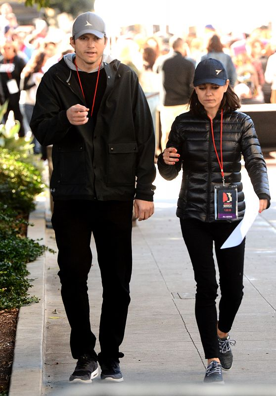 Mila Kunis and Ashton Kutcher At The LA Womens