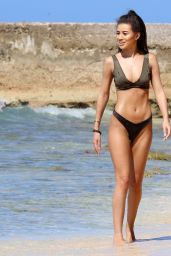 Montana Brown Shows off her toned beach body while on holiday in Barbados
