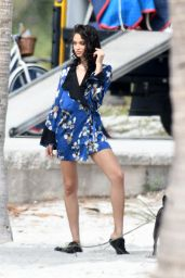 Shanina Shaik Poses during a Karen Millen photoshoot at Crandon Beach in Key Biscayne