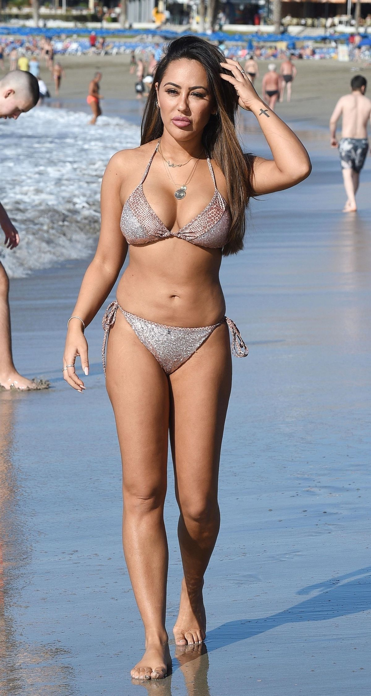 Sophie Kasaei Is seen on holiday in Turkey wearing a barely there bikini on  the beach