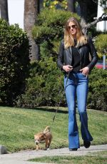 Adrianne Palicki Walks her dog Olly in LA