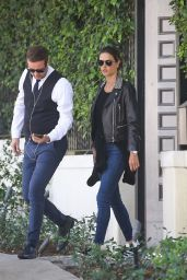Alessandra Ambrosio Is lovely in leather leaving a friends house in Brentwood