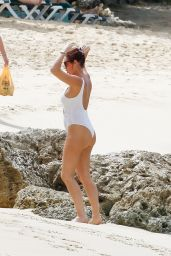 Amy Childs Is spotted at the beach in Barbados