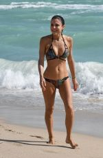 Bethenny Frankel Shows off her curves in a snakeskin bikini on the beach in Miami