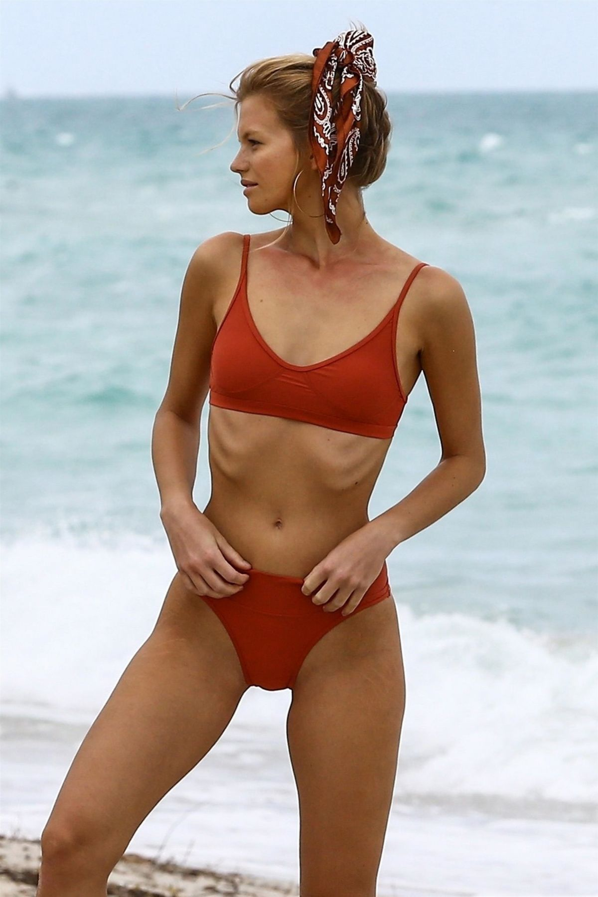 71987c902e231 Nadine Leopold Models a variety of swimsuits during a photoshoot on the  beach in Miami