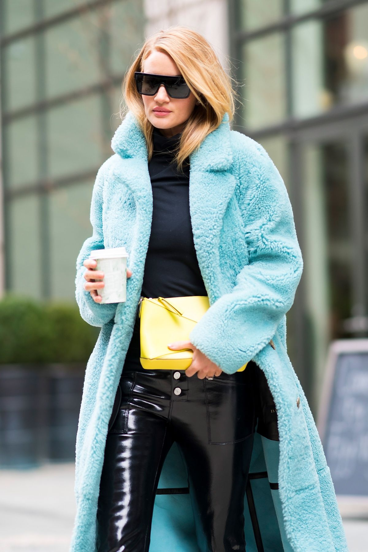 Rosie Huntington Whiteley Is Seen Wearing A Burberry Coat Rta Pants With Loweve
