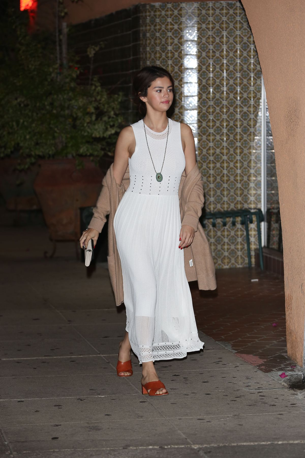f16833b0aa4b Selena Gomez Steps out for a night out wearing a white dress in LA ...