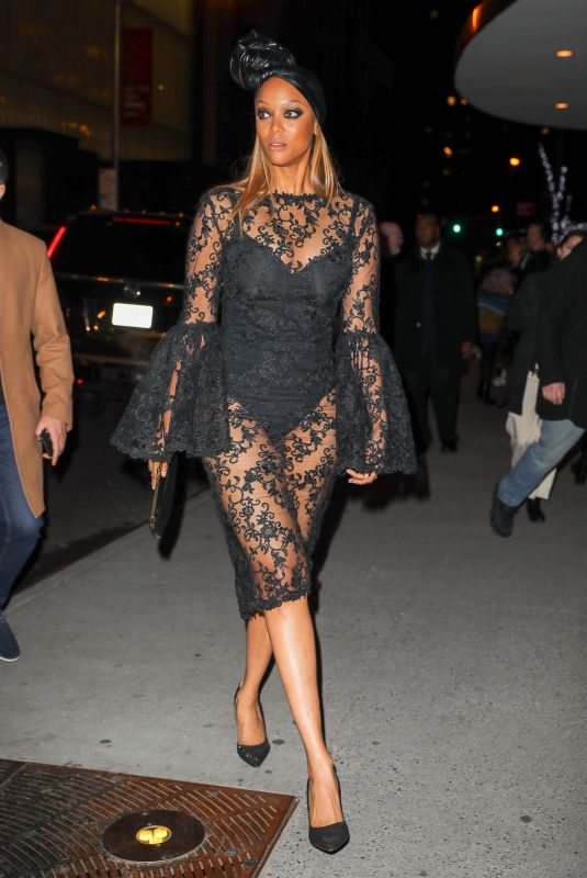 Tyra Banks Wore a see-through dress for the Black Panther premier in New York City