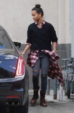 Zoe Saldana Leaving a studio after a morning photoshoot in Los Angeles