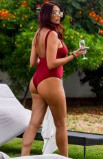 Amy Childs In Swimsuit Poolside At Melia Dunas Resort in Sal, Cape Verde