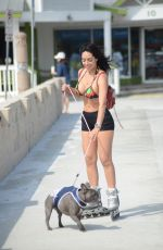 Andrea Calle Seen rollerblading with her bulldog in Miami