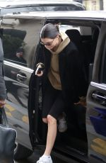 Kendall Jenner Leaves from her hotel in snowstorm to prepare a photoshoot in Paris, France