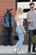 Lottie Moss and friend have lunch at Via Alloro in Beverly Hills