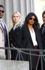 Priyanka Chopra On location filming for Quantico outside a courthouse in NYC