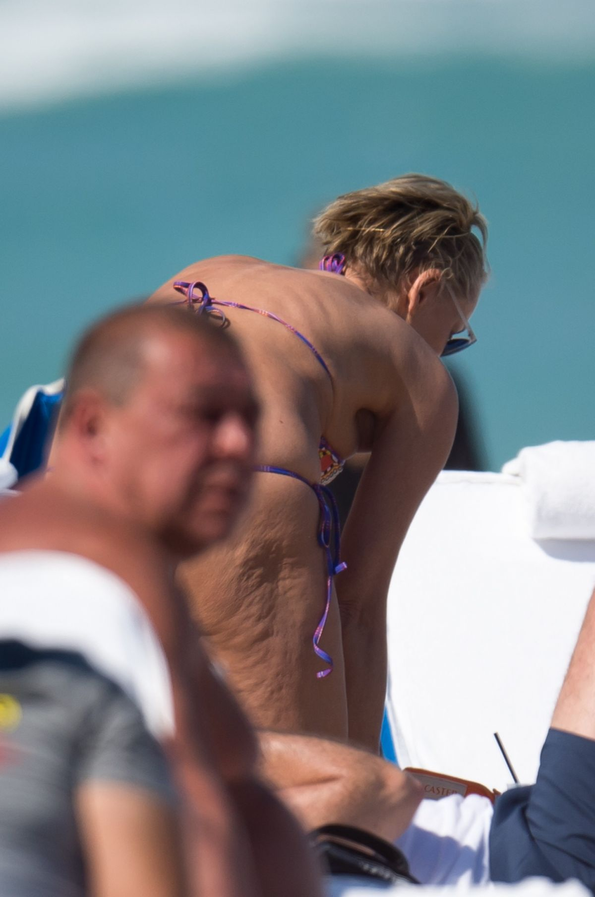 Sharon Stone At the beach in Miami with her boyfriend