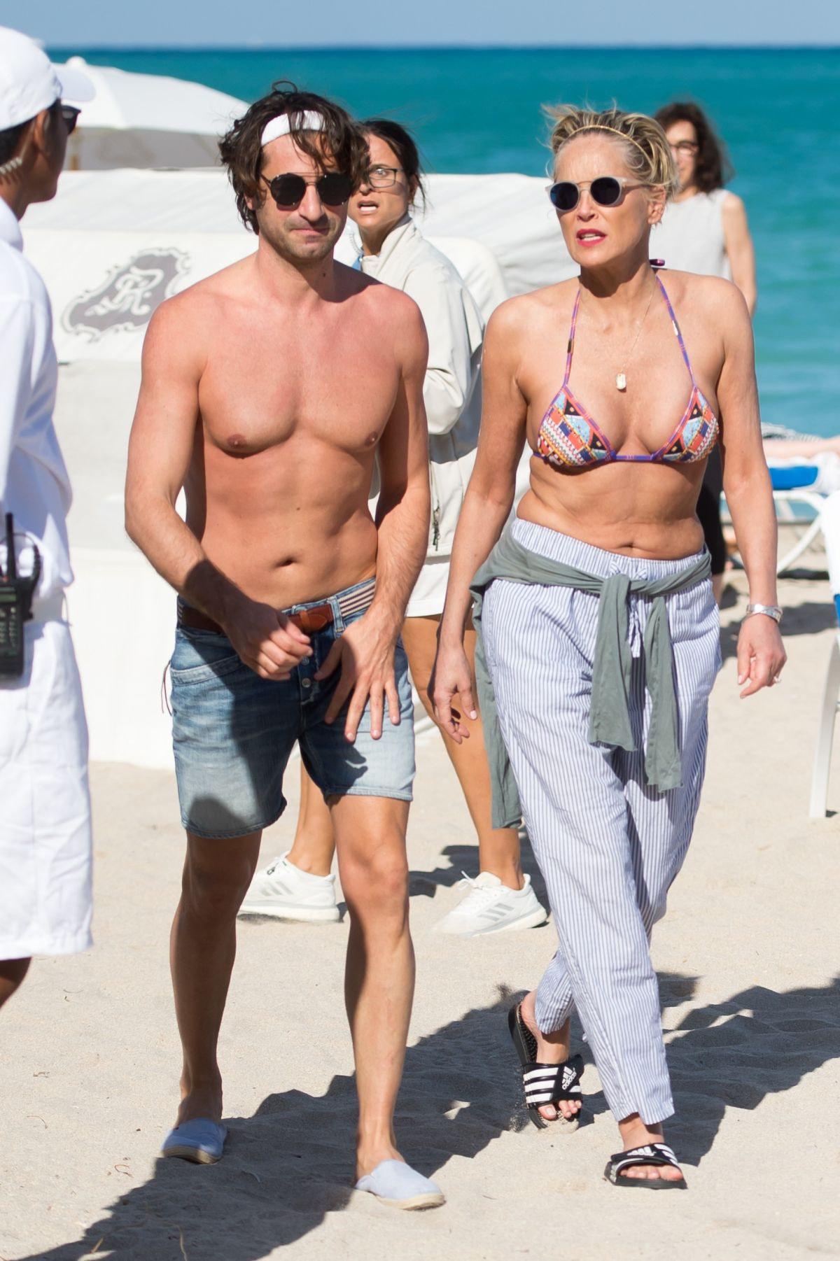 Sharon Stone At the beach in Miami with her boyfriend ... Emma Stone
