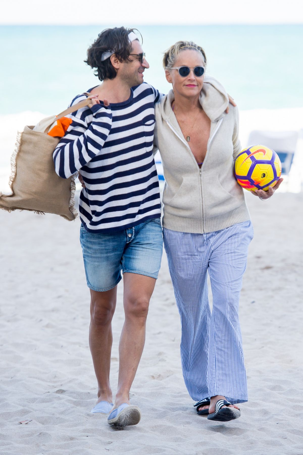 Sharon Stone Walking at the beach in Miami with her