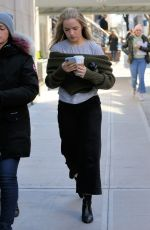 Willa Fitzgerald Walks to her trailer on the set of