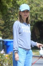 Calista Flockhart Takes her adorable dogs for a walk with a friend in Brentwood
