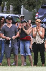 Elsa Pataky, Chris Hemsworth & Matt Damon Enjoyed a relaxing family-style school sporting event at a local park in Byron Bay
