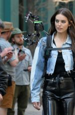 Emily DiDonato Gets soaked in the rain filming a Maybelline commercial in the Flatiron District in New York City