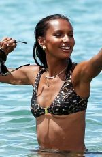 Jasmine Tookes Wearing a leopard print bikini from Sommer Swim on her last day of her vacation with her family in Wailea