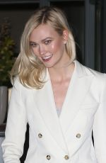 Karlie Kloss Is a beautiful vision in white outside The Bowery Hotel in Tribeca NYC