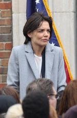 Katie Holmes Spotted filming a press conference scene for her new Untitled FBI/Fox project in Chicago
