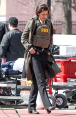 Katie Holmes Spotted wearing a bullet proof FBI vest while filming new Untitled FBI/Fox Project in Chicago