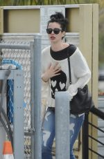 Krysten Ritter Seen emotionally distraught as she leaves the Access Specialty Animal Hospital in Culver City