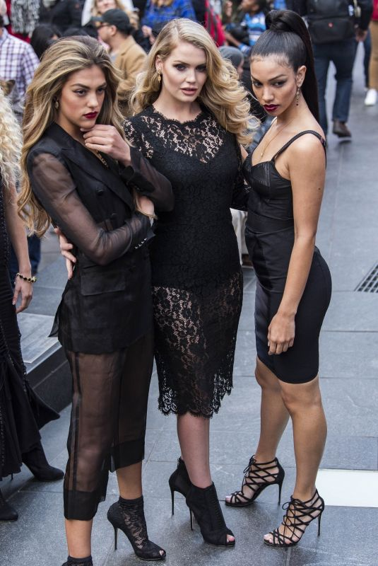 Lady Kitty Spencer, Sistine Stallone & Princess Maria-Olympia of Greece and Denmark On the set of a photoshoot for Vogue Brazil at Times Square in New York City