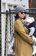 Laura Prepon and Ben Foster with their baby in New York