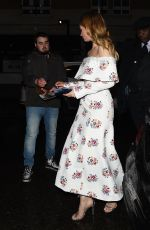 Lily James Arriving at Little House in Mayfair for