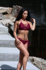 Melissa Riso Posing for a photoshoot for 138 Water at a private Beach house in Malibu