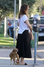 Minka Kelly Taking her dog to the pet salon in Los Angeles