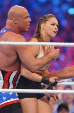 Ronda Rousey During the WWE Wrestlemania 34 at the Mercedes-Benz Superdome in New Orleans