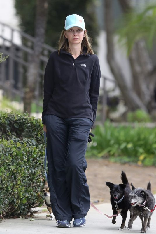 Calista Flockhart Takes her dogs for a walk in Santa Monica