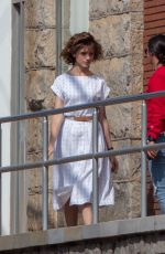 Charlie Heaton and Natalia Dyer Film a scene together for