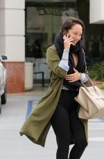 Cheryl Burke Makes a call as she goes out make up free to Coffee Bean in LA