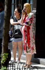 Claire Danes Seen wearing a floral dress while pregnant in New York City