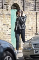 Daisy Lowe Walks her dog in North London