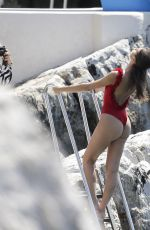 Daniela Lopez Osorio In red bathing suit at the Cap-Eden-Roc palace hotel
