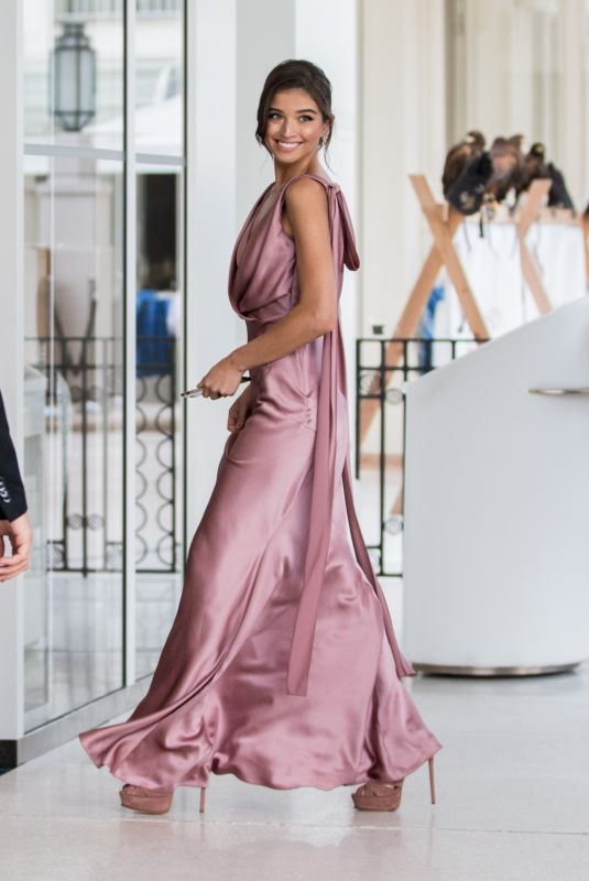 Daniela Lopez Osorio Is seen arriving in a festive dress at the Martinez Hotel in Cannes