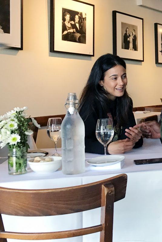 Emmanuelle Chriqui With a friend inside an eatery West Hollywood