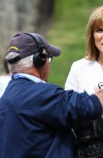 Fiona Bruce Records a piece for the BBC