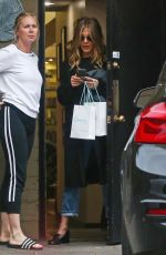 Jennifer Aniston Was spotted emerging after a three hour appointment at Canale Hair Salon in Beverly Hills