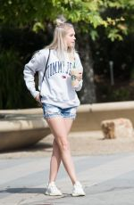 Jordyn Jones Grabs a big boost of caffeine before heading into a music studio in Los Angeles