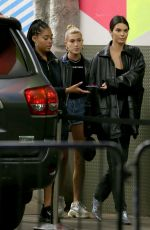 Kendall Jenner & Hailey Baldwin Exit MILK studios in New York City having stopped in to attend Poppy Delevingne